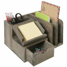 Gray Wood Desktop Office Organizer Withsticky Note Pad Holder Mail Sorter Drawer