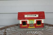 Vintage Mid 20th Century Folk Art  Hand Painted Train Station Model Building
