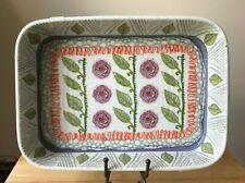 "ANTHROPOLOGIE 13"" x 9"" Ceramic Baking Dish - Blue Orange Flowers, Green Leaves"