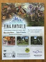 Final Fantasy XI 11 PS2 PC 2007 Vintage Print Ad/Poster Art Official Promo Rare