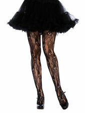 Plus Size Full Figure Black Rose Skull Lace Tights Pantyhose 1x2x 165-275lbs