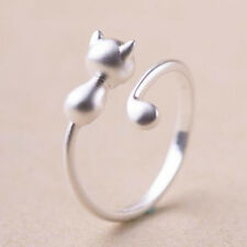 925 Sterling Silver Mini Adjustable Finger Ring Long Tail Cat Girl's Jewelry
