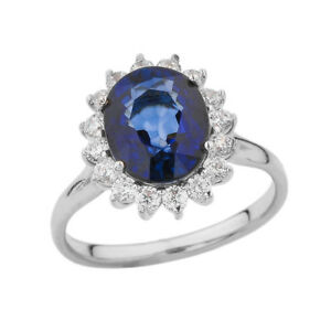 Solid 10k 14k White Gold Princess Diana Engagement Ring With Sapphire Diamond