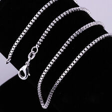 """925 Sterling Silver Plated Square Box Chain Necklace for Charms Pendants 16-30"""""""