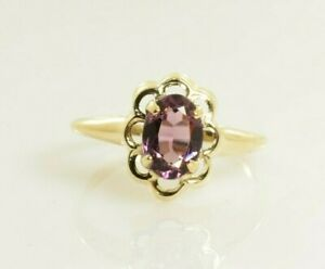 Birthstone Ring 10k Yellow Gold Size 4.5 - Amethyst Oval February