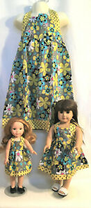 Matching Outfits for the Whole Family--Girl Doll Mom Brother Baby in Grey-Yellow