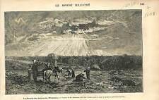 PEINTRE Hector Hanoteau RÉCOLTE BETTERAVES EN NIVERNAIS  1873