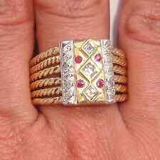 Wide .75ct Diamond & Ruby Solid 14K Y/W 2Tone Gold Men's Ring Fine Jewelry