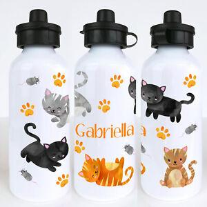 Cats Personalised Kids Water Bottle, Girls School Water Bottle,