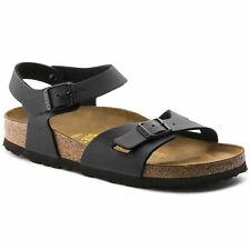 NEW Women's Birkenstock Model RIO Birko-Flor BLACK Sandals Size 40 US 9-9.5