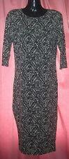 River Island ladies black & white knee length 3/4 sleeve dress UK Size 8
