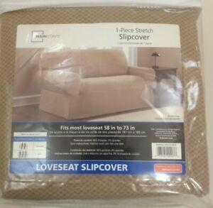 "NEW Brown SLIPCOVER Mainstays LOVESEAT Brownstone COVER 58""-73"" Dark TAN Khaki"