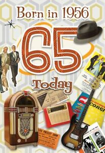 65TH MALE BIRTHDAY YEAR YOU WERE BORN GREETING CARD WITH FACTS ABOUT 1956