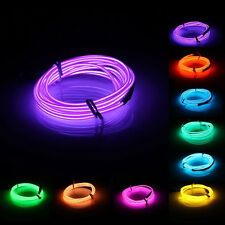 2M EL Led Flexible Soft Tube Wire Neon Glow Car Rope Strip Light Xmas Decor DC 1