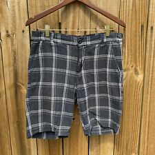 Zoo York Men's Size 32 Waist Blue Black White Plaid Casual Shorts