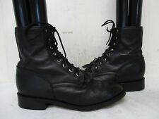 JUSTIN Black Leather Lace Kiltie Roper Cowboy Boots Youth Size 4.5 D Style 506Y