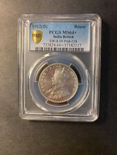 India George V silver rupee 1912 Bombay GEM uncirculated PCGS MS64+