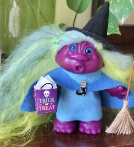 "Dam Troll Halloween Purple Witch. OOAK 5"" Tall. Real Fur Hair. Glass Eyes"