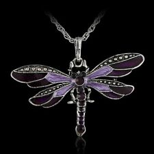 Ancient Fashion Dragonfly Long Pendant Necklace Chain Crystal Rhinestone Silver