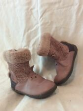 Girls Clarks Pink Leather Boots Size 6F