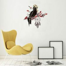Creative Black Bird Red Leaves Wall Stickers Living Room Bedroom Home Decoration