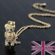 KITSCH crystal TEDDY BEAR moveable PENDANT&CHAIN necklace set GOLD FASHION SET