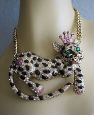 BETSEY JOHNSON CRITTER BOOST CROWNED LEOPARD FRONTAL STATEMENT NECKLACE~NWT~RARE