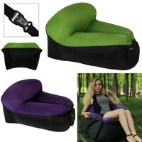 Portable Lazy Air Lounge Chair Inflatable Sleeping Camping Bed Beach Sofa Bag