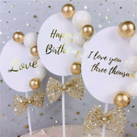 1Pcs Foil Love Happy Birthday Cake Toppers Cute Gold Pearl Cupcake Wedding Decor