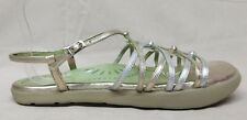 Earth Kalso Sz 9 B US Women's Sizzle Gold Silver Buckle Strap Strappy Sandals
