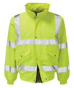 Hi Vis Hi Visibility Bomber Jacket - Hi Viz Yellow - VALIANT