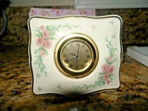 Vintage LENOX Quartz Desk Clock Flower Pattern Gold trim Singapore Mvmt