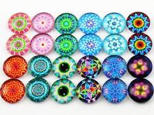 50pcs Handmade Glass Cabochons | 12mm | Kaleidoscope Designs