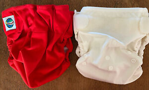 2 X Grovia Wonder Wraps Nappies Diapers Red & Vanilla  Discontinued Used Cond