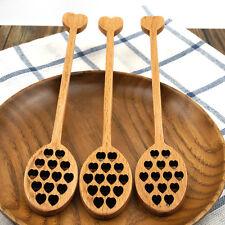 1pc Wood Wooden Heart Honey Dripper Dipper Drizzler Honney Pot Spoon Stir Stick