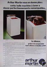 PUBLICITÉ 1973 ARTHUR MARTIN BELLE MACHINE À LAVER A 12 PERFECTIONNEMENTS - CHAT