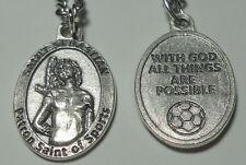 """St Sebastian Holy Medal on 24"""" Chain Patron Saint of Sports - Soccer Ball Medal"""