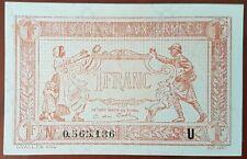 Billet de 1 francs TRÉSORERIE AUX ARMÉES 1919 FRANCE série U 0565136