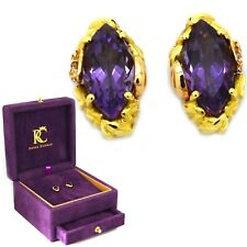 Clogau Welsh 18ct Rose Gold Amethyst Diamond AR Dan Stud Earrings