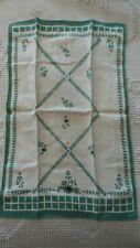 Vintage Cotton Print Hand, Guest TOWEL Green Floral 19x12