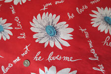 ONE VINTAGE FEEDSACK  He LOVES Me  in RED  CLEAN! 37x44  3 available-make outfit
