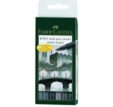 Faber-Castell Pitt Artist Pens 6 Brush Tips - Shades Of Grey ~ KNOCKOUT CRAFTS