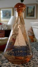 CARAFE VERRE ROSE SAUMON ANNEES 50-60 sérigraphie décor bateau bleu