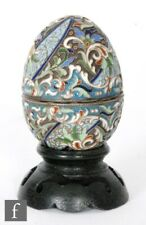 Russian silver cloisonné enamelled Egg by Grigory Sbetnayev, Moscow Circa 1893.