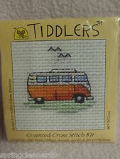 MOUSELOFT TIDDLERS CROSS STITCH KIT ~ ORANGE CAMPER VAN ~ 5.5cm x 5.5cm ~ NEW