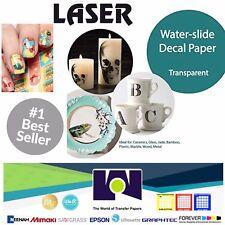 "LASER Waterslide Decal Paper CLEAR, 10 Sh,  8.5"" x 11"" TOP SELLER"