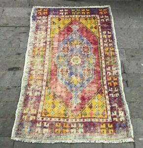 Colorfull Small Oushak Rug, Handmade Wool Vintage Turkish Welcome Rug 2.7x4.1ft