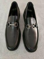 Salvatore Ferragamo 'Fiorino' Black Leather Loafers Bit Mens Shoes $520.00