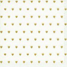 20 Serviette Kleine Herzen gold 33x33 cm, geprägt, 3-lagig