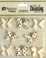 BUTTERFLY Mix CREAM Printed 8 Teastained Paper  20-25mm Darjeeling Petaloo Ver